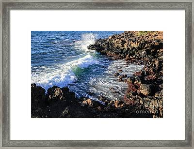 Big Waves Crashing On Lava Cliffs On Maui Hawaii Coastline Framed Print by Edward Fielding