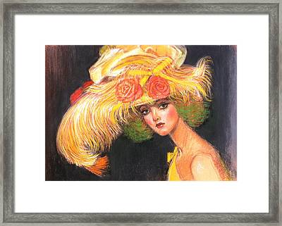 Framed Print featuring the painting Big Yellow Fashion Hat by Sue Halstenberg