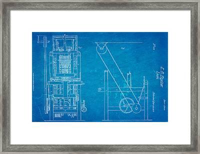 Bigelow Loom Patent Art 1837 Blueprint Framed Print