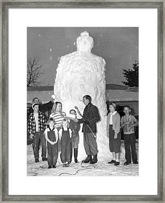 Biggest Snowman Framed Print by Underwood Archives