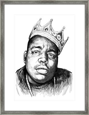 Biggie Smalls Art Drawing Sketch Portrait - 1 Framed Print