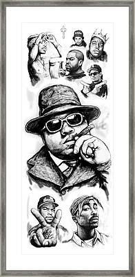 Biggie Smalls Blackwhite Drawing Art Poster Framed Print