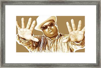 Biggie Smalls Stylised Pop Art Colour Drawing Poster Framed Print by Kim Wang