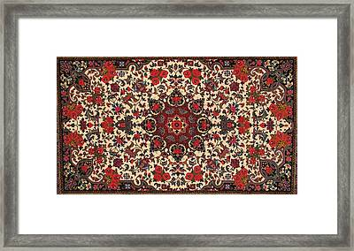 Bijar Red And Cream Silk Carpet Persian Art Poster Framed Print by Persian Art