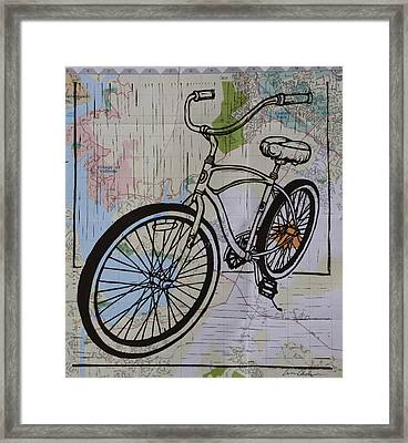 Bike 6 On Map Framed Print by William Cauthern