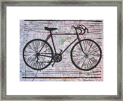 Bike 8 On Map Framed Print by William Cauthern