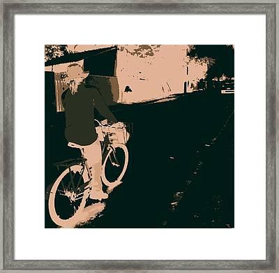 Bike And Woman Framed Print