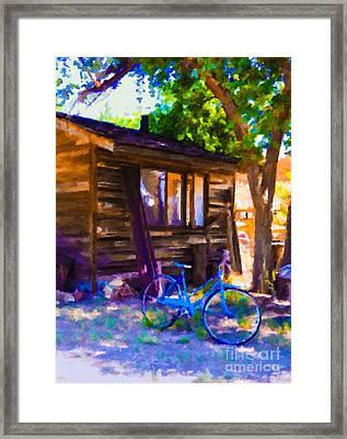 Bike At Hillside Cabin Framed Print