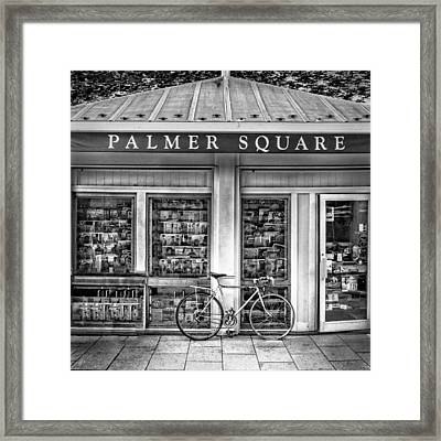 Bike At Palmer Square Book Store In Princeton Framed Print