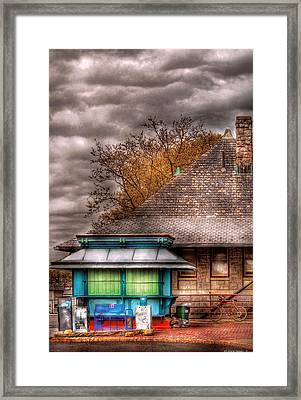 Bike - At The Train Station Framed Print by Mike Savad