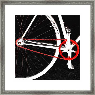 Bike In Black White And Red No 2 Framed Print