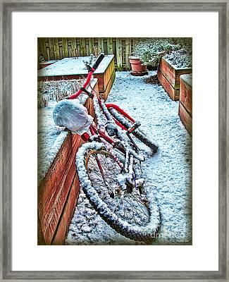 Bike In Winter Framed Print by Joan  Minchak