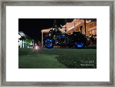 Bike Night In Blue Light Framed Print