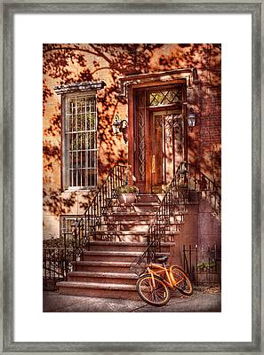 Bike - Ny - Greenwich Village - An Orange Bike  Framed Print