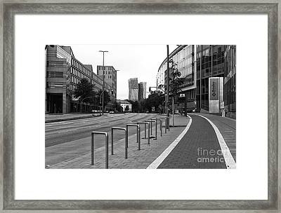 Bike Path In Hamburg Mono Framed Print