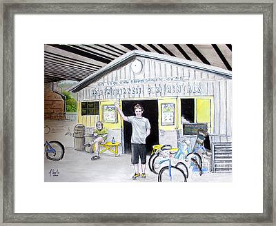 Framed Print featuring the drawing Bike Pittsburgh by Albert Puskaric