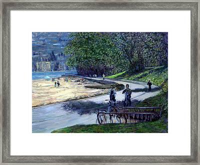 Bike Ride In Stanley Park Framed Print by Stephen Dobson