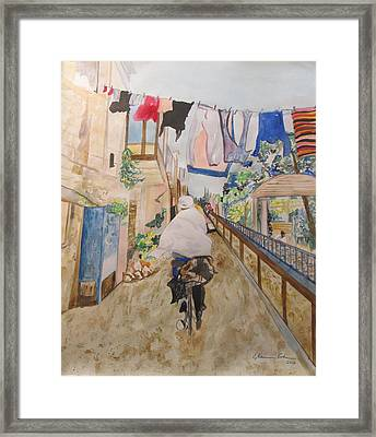 Bike Rider In Jerusalem Framed Print