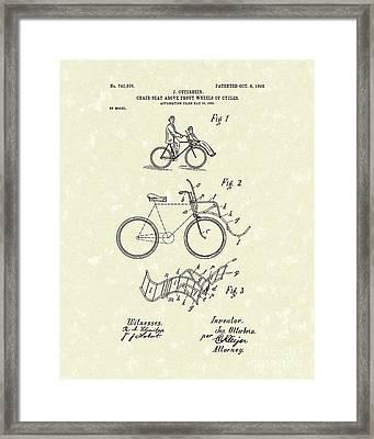 Bike Seat 1903 Patent Art Framed Print