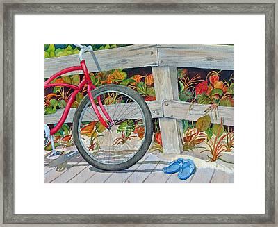Bike To The Beach Framed Print by Judy Mercer
