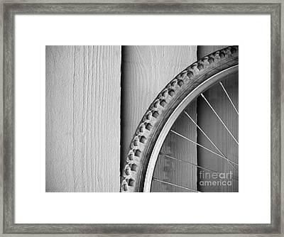 Bike Wheel Black And White Framed Print by Tim Hester