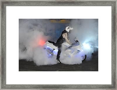 Biker Burn Out Framed Print by Joe Oliver