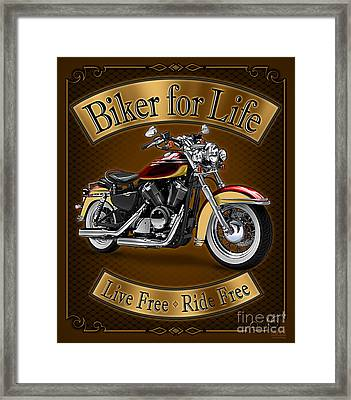 Biker For Life Framed Print by JQ Licensing
