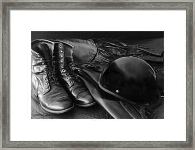 Biker Gear Framed Print by Kenny Francis