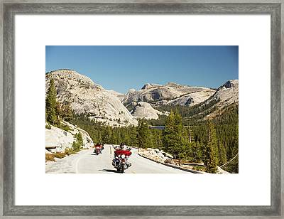 Bikers On The Road From Lee Vining Framed Print by Ashley Cooper