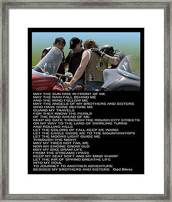 Bikers Prayer Framed Print by Joe Oliver