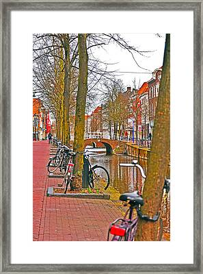 Bikes And Canals Framed Print