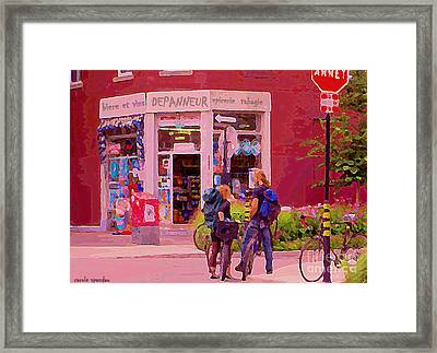 Bikes Backpacks And Cold Beer At The Local Corner Depanneur Montreal Summer City Scene  Framed Print by Carole Spandau