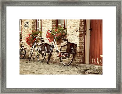 Bikes In The School Yard Framed Print by Juli Scalzi