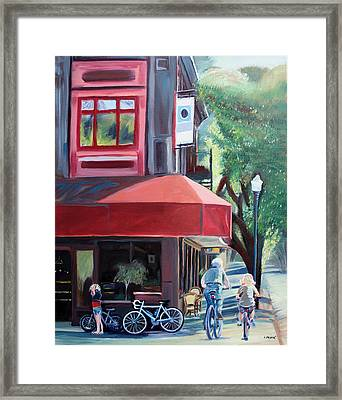 Bikes In Town Framed Print by Colleen Proppe