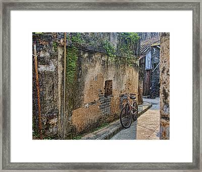 Bikes Framed Print by Karen Walzer