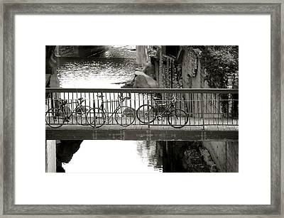Bikes Over Waller Creek Framed Print by Kristina Deane