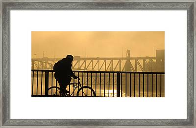 Framed Print featuring the photograph Biking The Bridges by Joe Winkler