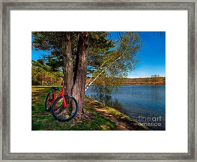 Biking To Horseshoe Lake Framed Print