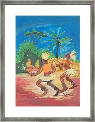 Framed Print featuring the painting Bikutsi Dance 2 From Cameroon by Emmanuel Baliyanga