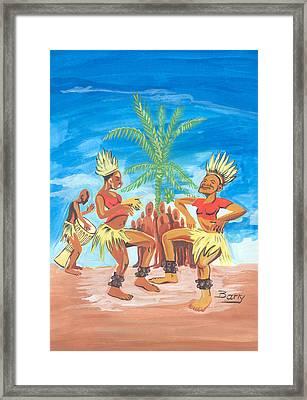 Framed Print featuring the painting Bikutsi Dance 3 From Cameroon by Emmanuel Baliyanga