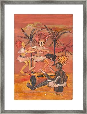 Framed Print featuring the painting Bikutsi Dance From Cameroon by Emmanuel Baliyanga