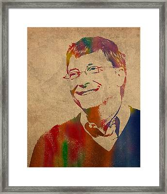Bill Gates Microsoft Ceo Watercolor Portrait On Worn Distressed Canvas Framed Print