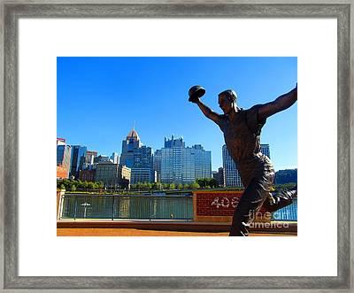 Bill Mazeroski Statue Celebrates Pittsburgh Framed Print