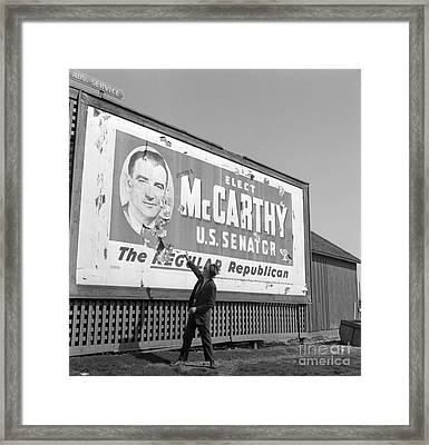 Billboard For Senator Joe Mccarthy 1948 Framed Print by The Harrington Collection