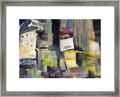 Billboards Times Square At Night Watercolor Painting Of Nyc Framed Print by Beverly Brown