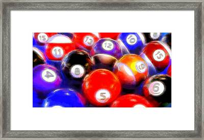 Billiard Balls On The Table Framed Print by Dan Sproul