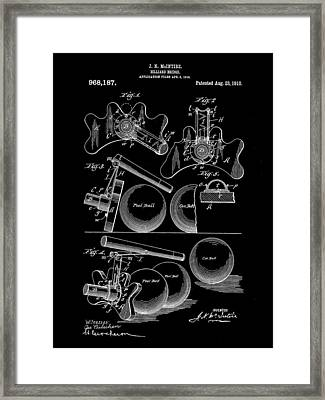 Billiard Bridge Patent 1910 - Black Framed Print by Stephen Younts