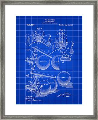 Billiard Bridge Patent 1910 - Blue Framed Print