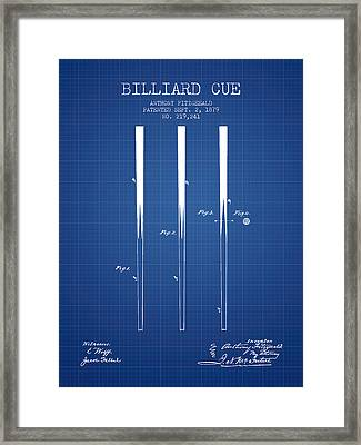 Billiard Cue Patent From 1879 - Blueprint Framed Print