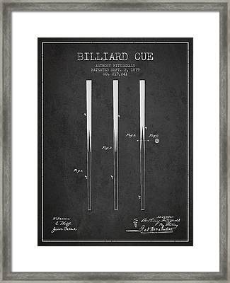 Billiard Cue Patent From 1879 - Charcoal Framed Print
